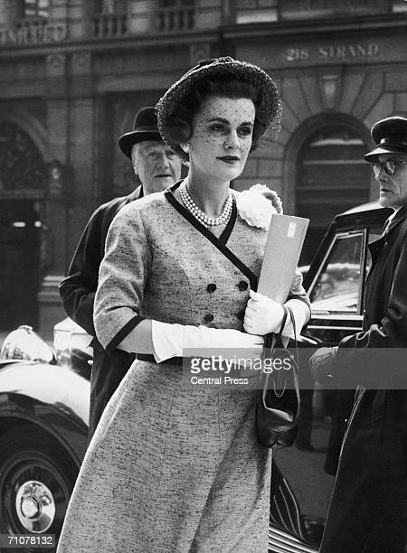 Margaret Campbell Duchess of Argyll outside the law courts in the Strand on the second day of her case 3rd May 1960 By the end of the day she had...