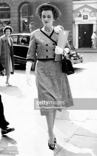 Margaret Campbell, Duchess of Argyll pictured outside the law courts in the Strand on the second day of her case, 3rd May 1960. By the end of the...