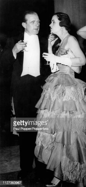 Margaret Campbell Duchess of Argyll pictured together with Baron Sigismund von Braun at a German Embassy reception at the Tate Gallery in London on...