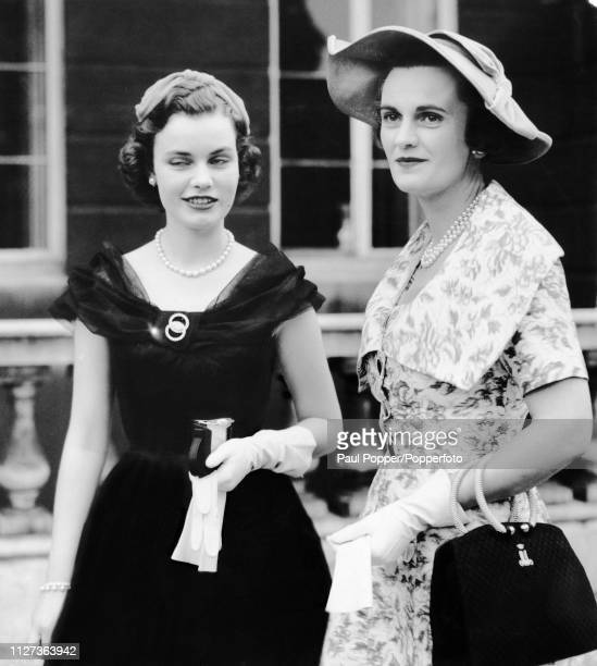 Margaret Campbell Duchess of Argyll third wife of Ian Campbell 11th Duke of Argyll pictured with her daughter Frances Helen Sweeny in London in July...