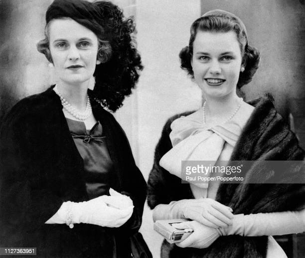 Margaret Campbell, Duchess of Argyll , third wife of Ian Campbell, 11th Duke of Argyll, pictured with her daughter Frances Helen Sweeny as they...