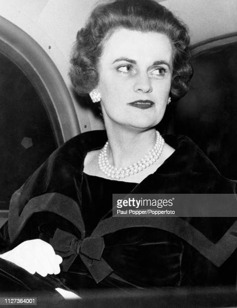 Margaret Campbell, Duchess of Argyll , third wife of Ian Campbell, 11th Duke of Argyll, pictured in the rear seat of a car in October 1959.