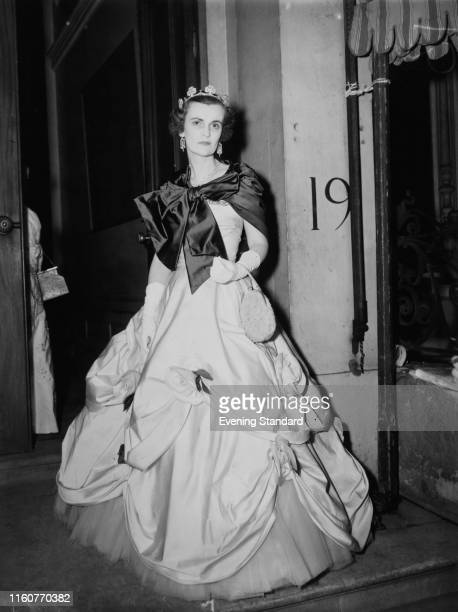 Margaret Campbell Duchess of Argyll wearing an elaborate ballgown and tiara 4th June 1953