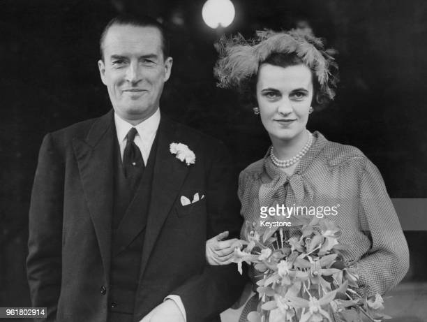 Margaret Campbell formerly Sweeny née Whigham now Duchess of Argyll and Ian Douglas Campbell 11th Duke of Argyll after their wedding at Caxton Hall...