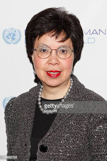 Margaret Chan Director General of the World Health Organization attends the Every Woman Every Child MDG Reception at the Grand Hyatt on September 20...
