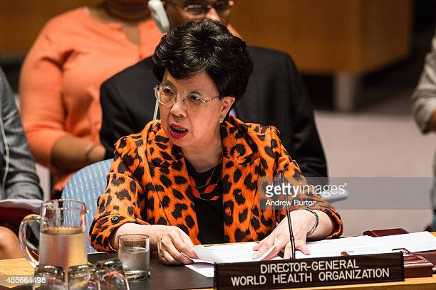 Margaret Chan Director General of the World Health Organization speaks to the United Nations Security Council during a meeting on the ebola outbreak...
