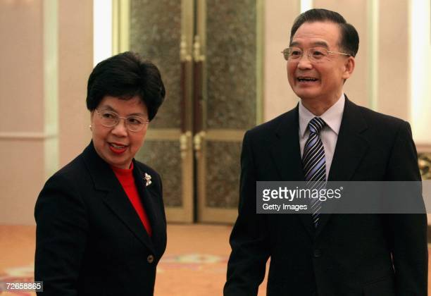 Margaret Chan DirectorGeneral Elect of World Health Organization is greeted by Chinese Premier Wen Jiabao before their talks on November 28 2006 at...