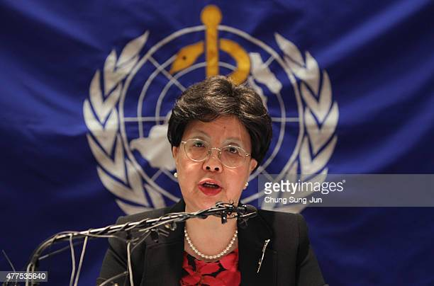 Margaret Chan DirectorGeneral of the World Health Organization speaks during a press conference at the Coex on June 18 2015 in Seoul South Korea WHO...