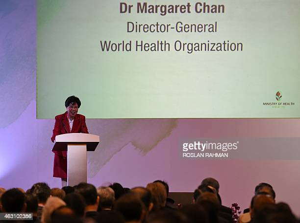 Margaret Chan directorgeneral of World Health Organisation delivers her speech during the Ministerial Meeting on Universal Health Coverage in...