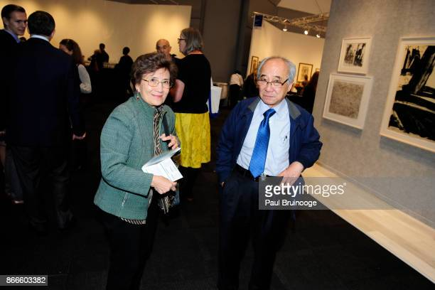 Margaret Cheng and David Cheng attend the IFPDA Fine Art Print Fair Opening Preview at The Jacob K Javits Convention Center on October 25 2017 in New...