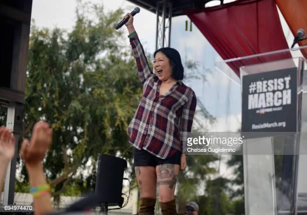 Margaret Cho speaks at the LA Pride ResistMarch on June 11, 2017 in West Hollywood, California.