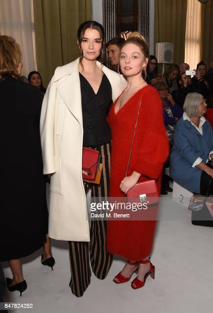 Margaret Clooney and Nell Hudson attend the Jasper Conran SS18 catwalk show during London Fashion Week September 2017 on September 16 2017 in London...