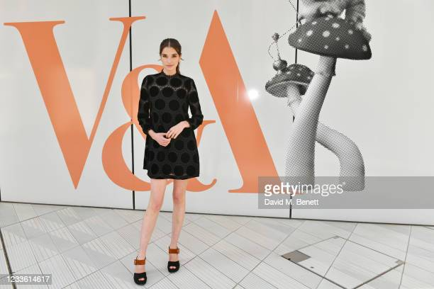 """Margaret Clunie attends a private view of """"Alice: Curiouser and Curiouser"""" at The V&A on June 23, 2021 in London, England."""