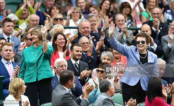 Margaret Court and Billie Jean King are announced to the crowed on day six of the Wimbledon Lawn Tennis Championships at the All England Lawn Tennis...