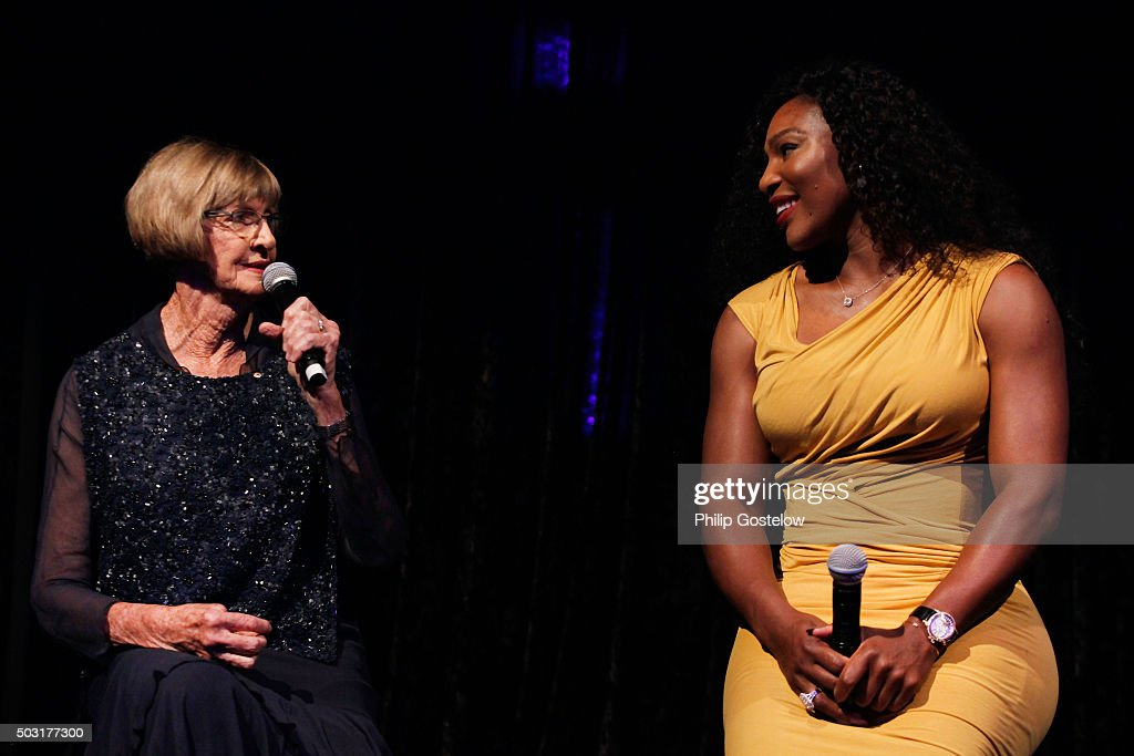 Margaret Court and Serena Williams at the 2016 Hopman Cup Player Party at Perth Crown on January 2, 2016 in Perth, Australia.