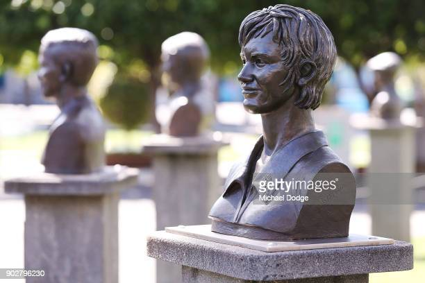 Margaret Court Arena statue is seen during a practice session ahead of the 2018 Australian Open at Melbourne Park on January 9 2018 in Melbourne...