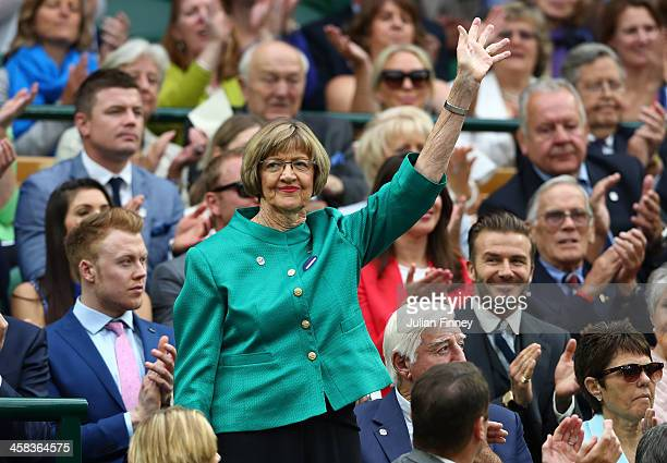 Margaret Court is announced to the crowed on day six of the Wimbledon Lawn Tennis Championships at the All England Lawn Tennis and Croquet Club on...