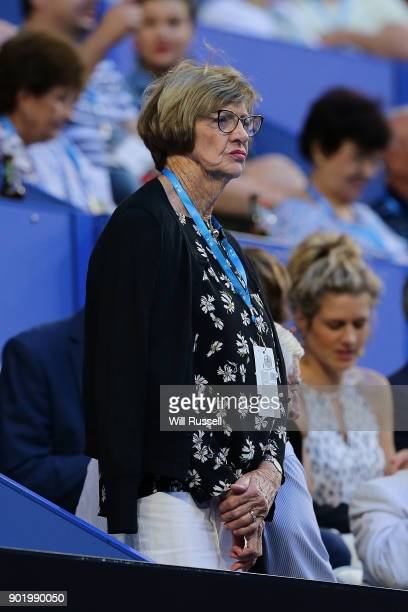 Margaret Court looks on durin the final on Day Eight of the 2018 Hopman Cup at Perth Arena on January 6 2018 in Perth Australia