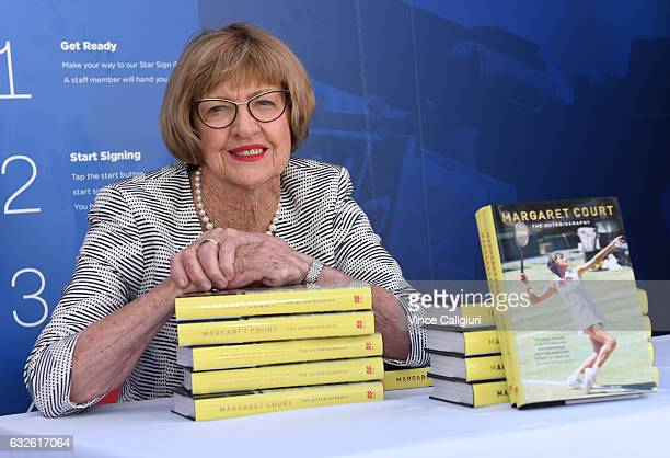 Margaret Court the former world No1 and winner of 24 Grand Slam titles poses with her autobiography during day ten of the 2017 Australian Open at...