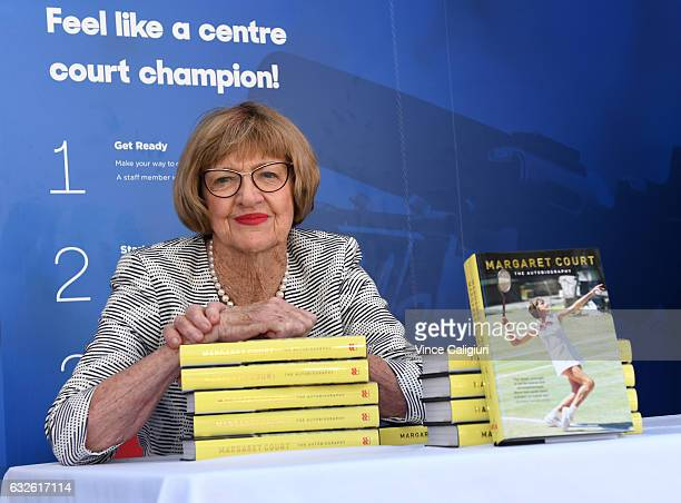 Margaret Court, the former world No.1 and winner of 24 Grand Slam titles poses with her autobiography during day ten of the 2017 Australian Open at...