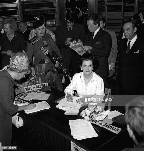 Margaret Duchess of Argyll at the Scotch House London collecting signatures for a public petition against the decision to disband the Argyll and...
