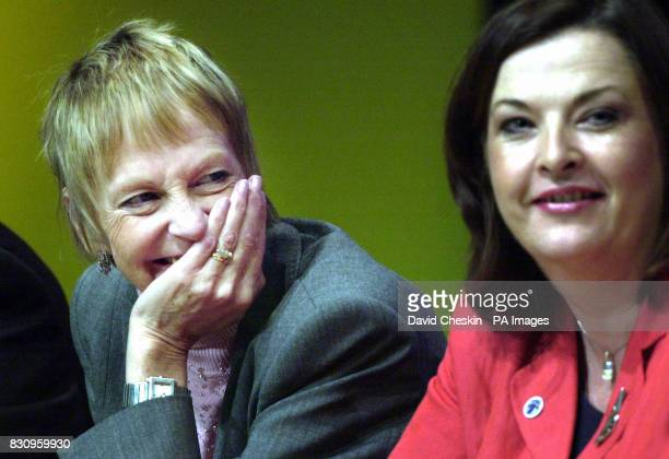 Margaret Ewing MSP shares a joke with Fiona Hyslop MSP on stage following her return to work after her battle with cancer at the Scottish National...