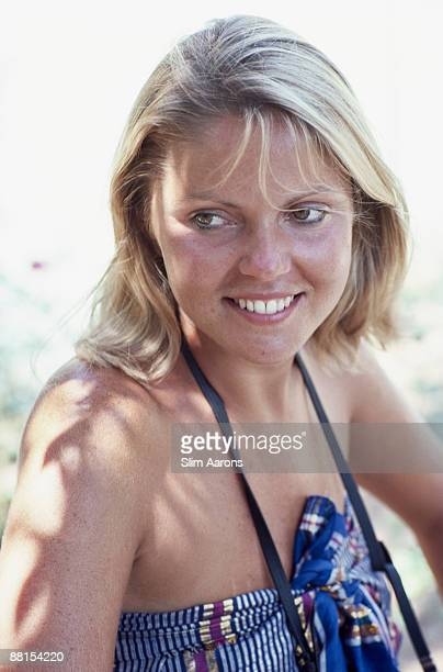Margaret Fodale in Porto Ercole Tuscany August 1980 She is an art director for Gianni Versace in Milan