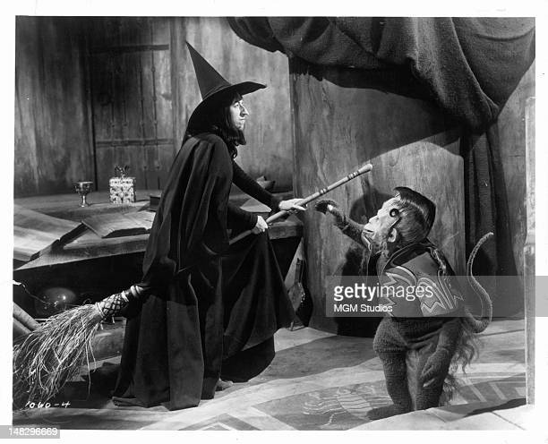 Margaret Hamilton as the Wicked Witch of the West gets ready to fly away as one of her flying monkey's reaches for her in a scene from the film 'The...