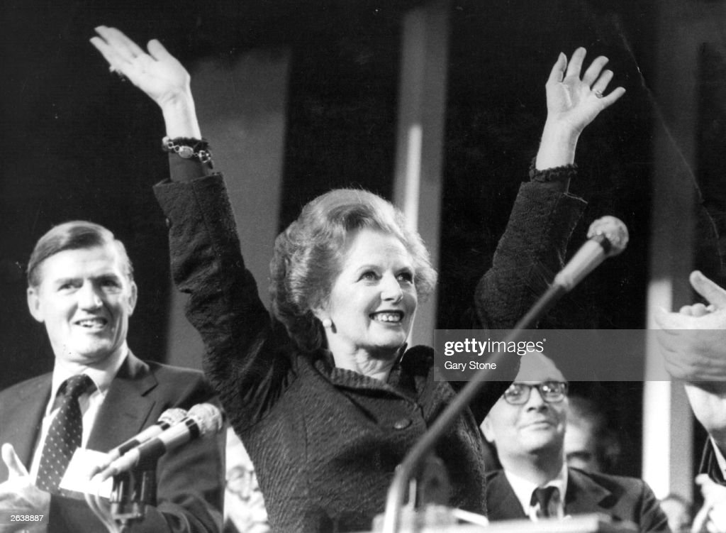 Margaret Hilda Thatcher, nee Roberts, Conservative Prime Minister celebrating at the Tory Party Conference in 1985.