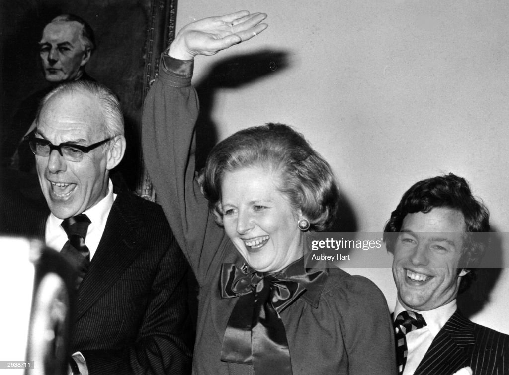 Margaret Hilda Thatcher, nee Roberts, First British Woman Prime Minister, with her husband Denis (1915 - 2003) and son Mark.
