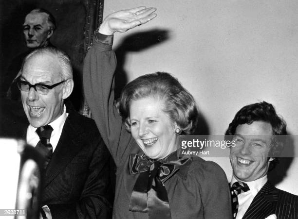Margaret Hilda Thatcher nee Roberts First British Woman Prime Minister with her husband Denis and son Mark