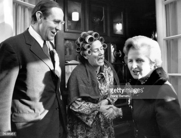 Margaret Hilda Thatcher nee Roberts Leader of the Conservative Party greets a lady in curlers whilst canvassing for the Conservative Party for a...