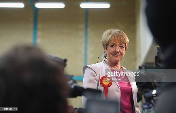Margaret Hodge Labour MP for Barking gives a television interview as votes for her Barking constituency are counted at the Goresbrook Leisure Centre...