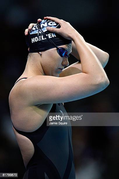 Margaret Hoelzer adjusts her cap before the final of the 100 meter backstroke during the US Swimming Olympic Trials on July 1 2008 at the Qwest...