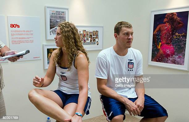 Margaret Hoelzer and Peter Vanderkaay of USA are interviewed at a press conference at the Speedo Sports Club at the Jintai Art Museum on August 7...