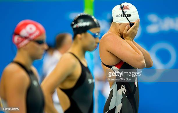 Margaret Hoelzer of the United States prepares for the start of her 100meter backstroke qualifying heats on Sunday August 8 in the Games of the XXIX...