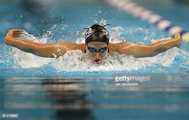 Margaret Hoelzer of the USA swims in a preliminary heat of the 100m butterfly during day 2 of the the Mutual of Omaha Swimvitational on June 6 2008...