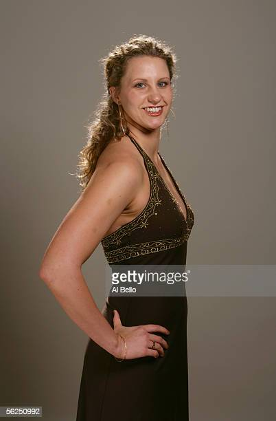 Margaret Hoelzer poses for a portrait prior to the Golden Goggle Awards Banquet on November 14 2005 in New York City New York