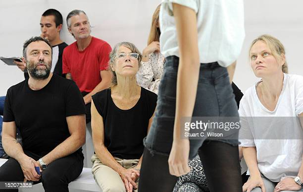 Margaret Howell watches a rehearsal prior to her show on day 3 of London Fashion Week Spring/Summer 2013, at Margaret Howell on September 16, 2012 in...