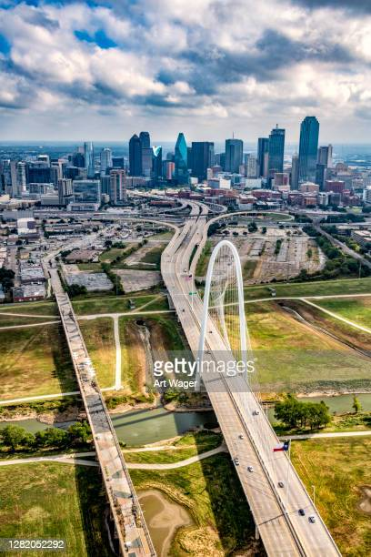 margaret hunt hill bridge in dallas - trinity river texas stock pictures, royalty-free photos & images