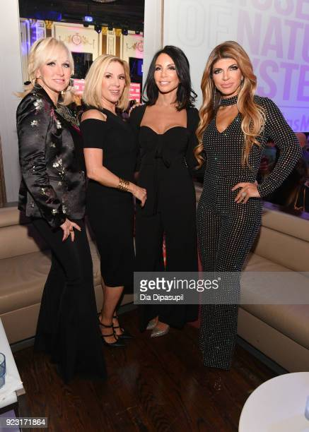Margaret Josephs Ramona Singer Danielle Staub and Teresa Giudice attend WE tv Launches Bridezillas Museum Of Natural Hysteria on February 22 2018 in...