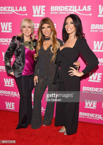 Margaret Josephs Teresa Giudice and Danielle Staub attend WE tv Launches Bridezillas Museum Of Natural Hysteria on February 22 2018 in New York City
