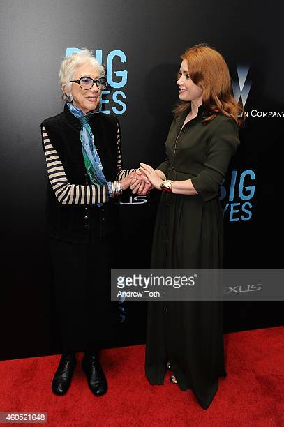 """Margaret Keane and actress Amy Adams attend """"Big Eyes"""" New York premiere at Museum of Modern Art on December 15, 2014 in New York City."""