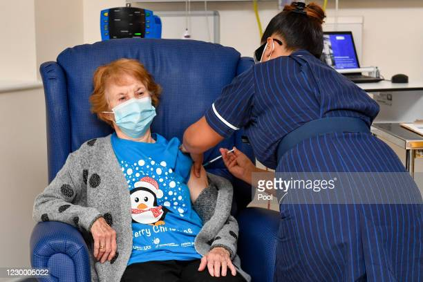 Margaret Keenan is the first patient in the United Kingdom to receive the Pfizer/BioNtech covid-19 vaccine at University Hospital, Coventry,...