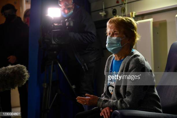 Margaret Keenan speaks to the media after becoming the first patient in the United Kingdom to receive the Pfizer/BioNtech covid-19 vaccine at...