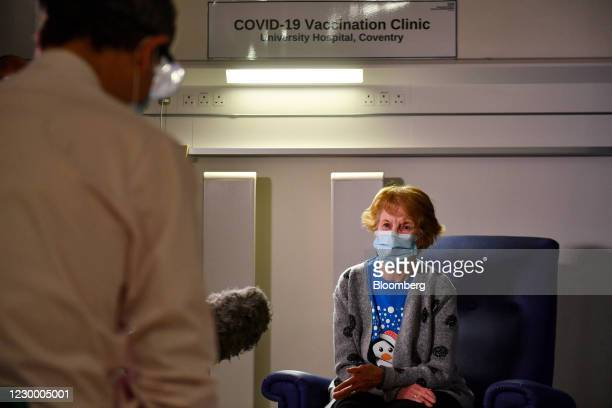 Margaret Keenan speaks to the media after becoming the first patient in the U.K. To receive the Covid-19 vaccine at University Hospital in Coventry,...