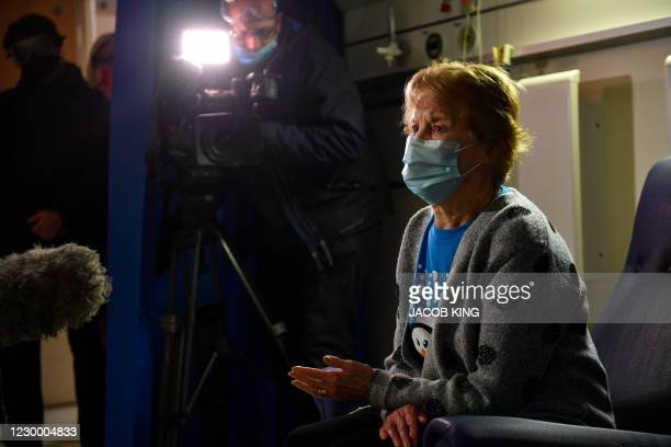 Margaret Keenan speaks to the media at University Hospital in Coventry, central England, on December 8, 2020 after becoming the first person to...