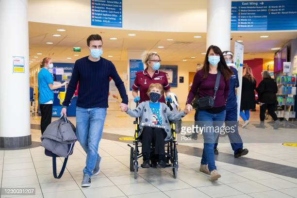 Margaret Keenan the first patient in the United Kingdom to receive the Pfizer/BioNtech covid-19 vaccine, leaves University Hospital Coventry &...