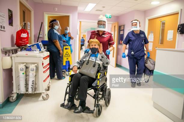 Margaret Keenan the first patient in the United Kingdom to receive the Pfizer/BioNtech covid-19 vaccine, prepares to leave University Hospital...