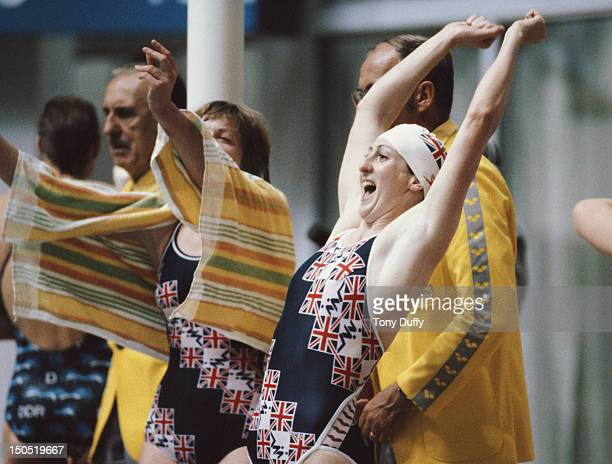 Margaret Kelly of Great Britain celebrates winning the silver medal with her team mates in the Women's 4 × 100 metres Medley Relay on 20th July 1980...